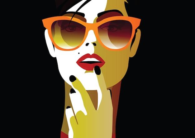 Moda mulher no estilo pop art. ilustração de moda
