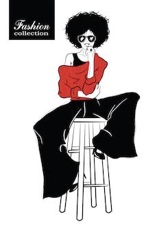Moda mulher no estilo pop art. ilustração vetorial