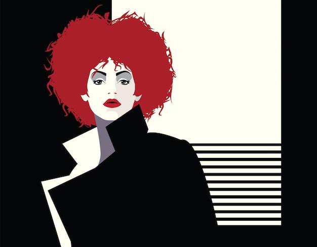 Moda mulher no estilo pop art. ilustração Vetor Premium