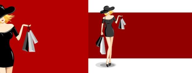 Moda mulher segurando sacola de compras em fundo vermelho