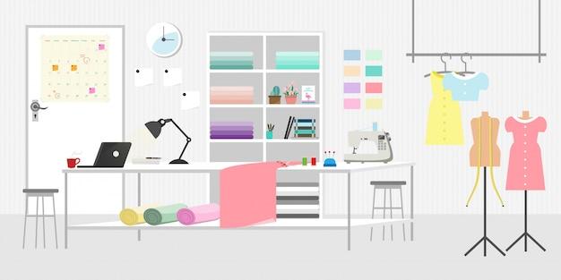 Moda ou costura quarto estúdio horizontal