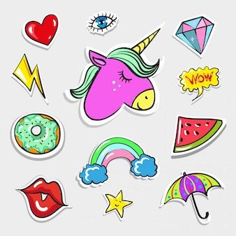 Moda pop art emblemas peculiares e bonitos, patches Vetor Premium