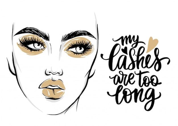 Moda poster com citação cílios e retrato de mulher com maquiagem dourada.