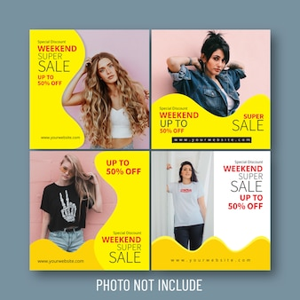 Moda venda de mídia social e banners web