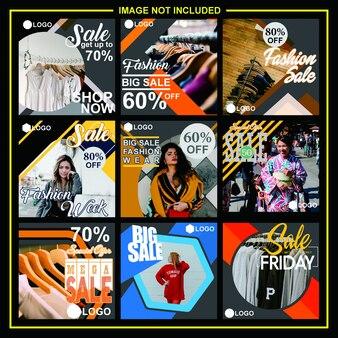 Moda venda mídia social post design modelo bundle premium vector - vetor