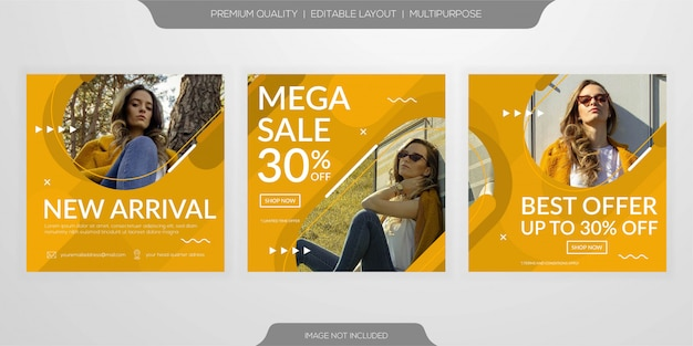 Moda venda web mídia social banner modelo conjunto