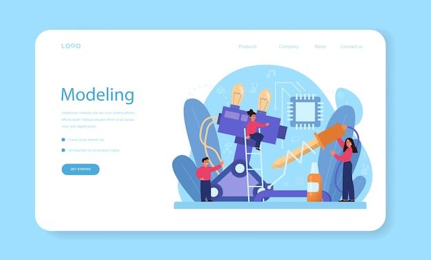Modelagem de banner da web ou página de destino do assunto escolar