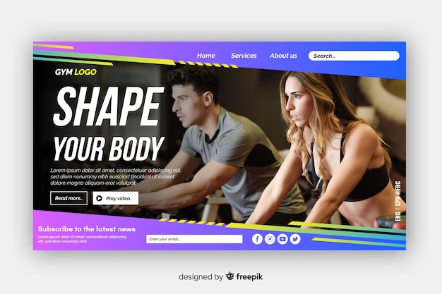 Modele sua página de destino da promoção para academias corporais