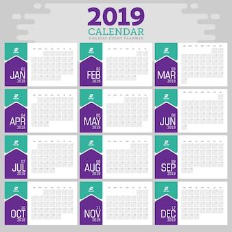 Modelo 2019 do planejador de eventos do calendário