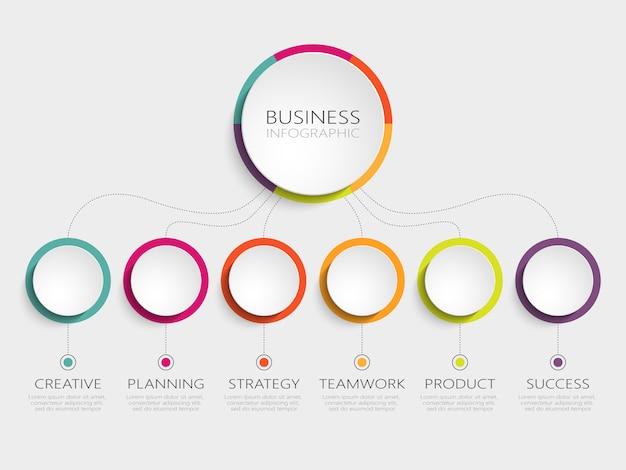 Modelo 3d abstrato infográfico com 6 etapas para o sucesso