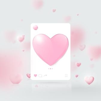 Modelo 3d da interface de mídia social. modelo de moldura de foto de rede social. dia dos namorados.