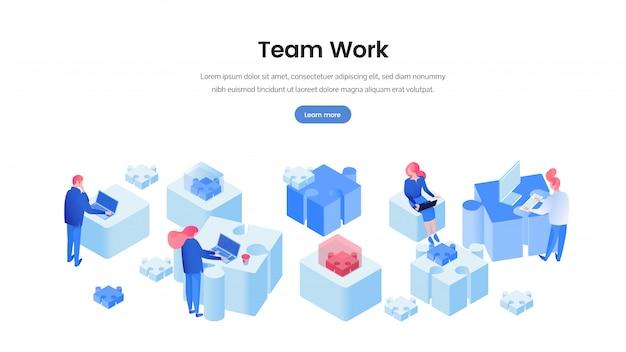 Modelo 3d de banner de web de trabalho em equipe
