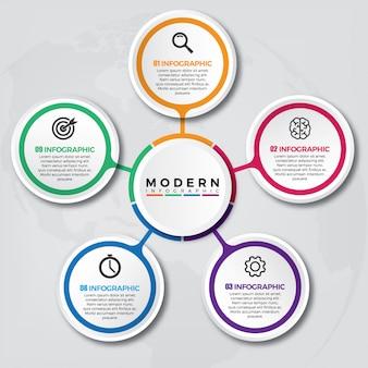 Modelo 3d de infográfico com 5 opções ou etapas