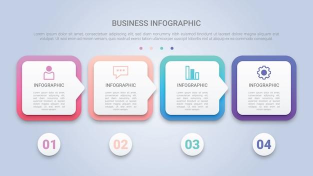 Modelo 3d de infográfico para negócios com quatro etapas etiqueta multicolor