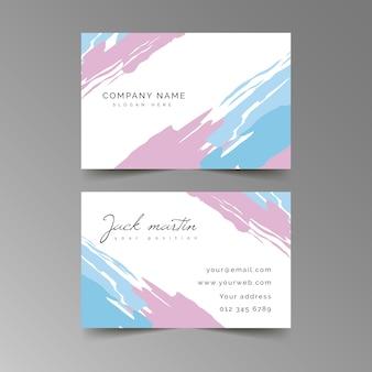 Modelo abstrato cartão de visita com mancha de cor pastel