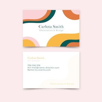 Modelo abstrato cartão de visita com manchas de cor pastel