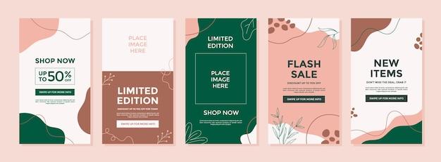 Modelo abstrato com conceito de natureza para promoção de vendas em histórias do instagram