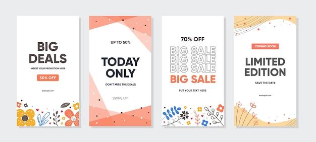 Modelo abstrato com conceito de natureza para promoção de vendas em histórias do instagram Vetor Premium