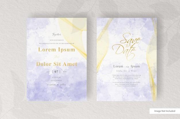 Modelo abstrato de cartão de convite de casamento com decoração elegante em aquarela