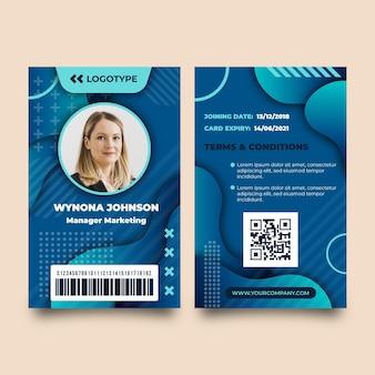 Modelo abstrato de cartões de identificação com foto