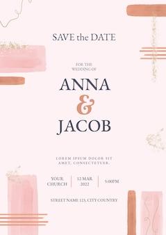 Modelo abstrato de convite de casamento em aquarela