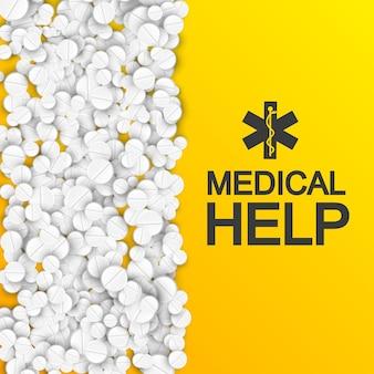 Modelo abstrato de cuidados médicos com inscrição e medicamentos farmacêuticos brancos na ilustração laranja.