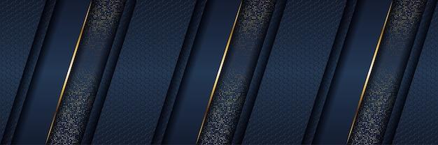 Modelo abstrato de fundo azul escuro de luxo com linhas de iluminação douradas