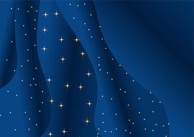Modelo abstrato de fundo premium de luxo azul escuro com padrão de ondas de luxo e linhas de iluminação de ouro.