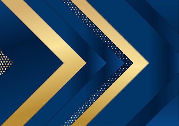 Modelo abstrato de fundo premium de luxo azul escuro com padrão de triângulos de luxo e linhas de iluminação de ouro.