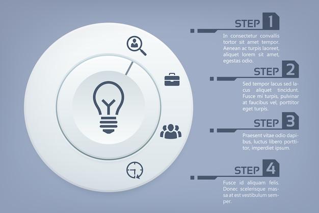 Modelo abstrato de infográfico com quatro etapas