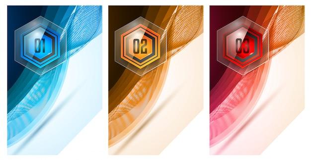 Modelo abstrato de infográfico com várias opções de botões de vidro