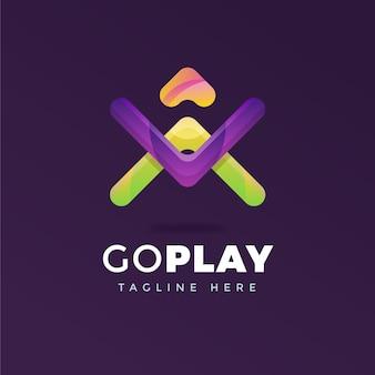 Modelo abstrato de logotipo da empresa com slogan