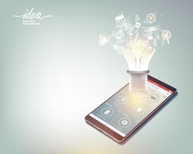 Modelo abstrato de negócios com soquete de smartphone realista e ícones na ilustração de luz