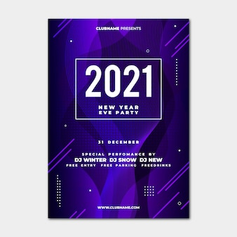 Modelo abstrato de panfleto de festa de ano novo 2021