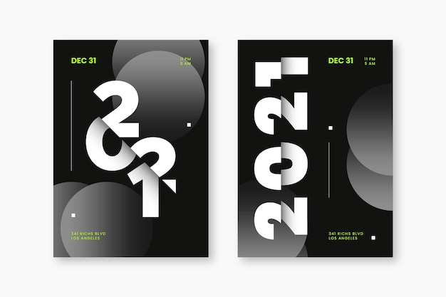 Modelo abstrato de panfleto de festa tipográfico de ano novo 2021