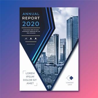 Modelo abstrato de relatório anual com foto