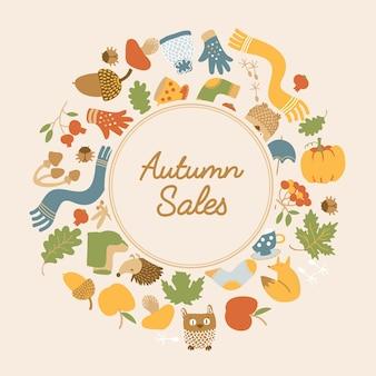Modelo abstrato de vendas de outono com texto em moldura redonda e elementos sazonais coloridos