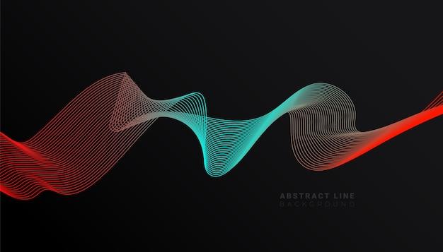Modelo abstrato elegante de fundo escuro com formas de onda de linha vermelha azul