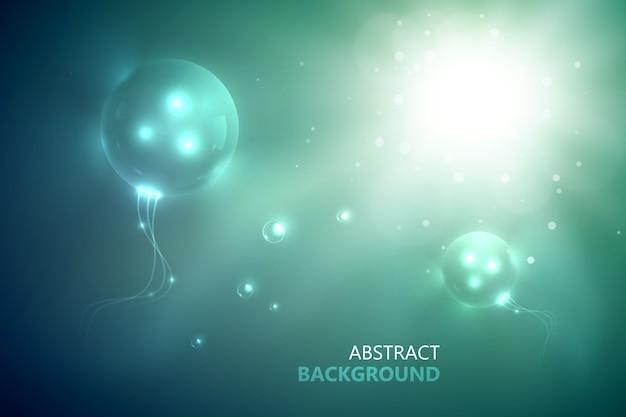 Modelo abstrato futurista com círculos brilhantes e inovadores em flash brilhante e efeitos de luz no fundo desfocado