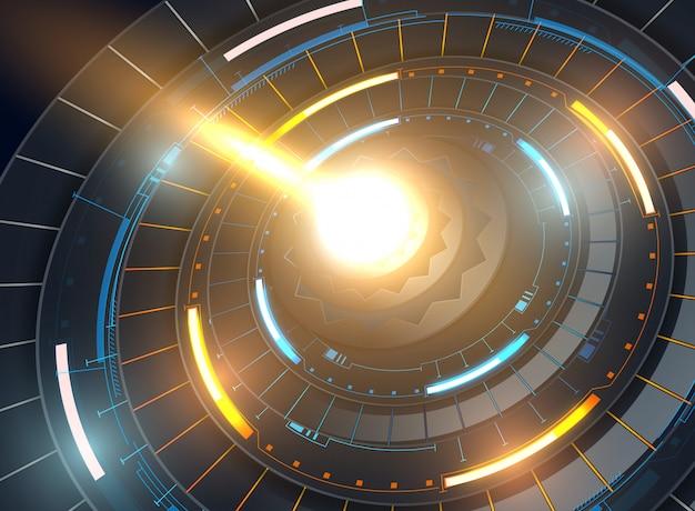 Modelo abstrato futurista com interfaces de usuário virtuais inovadoras em fundo escuro
