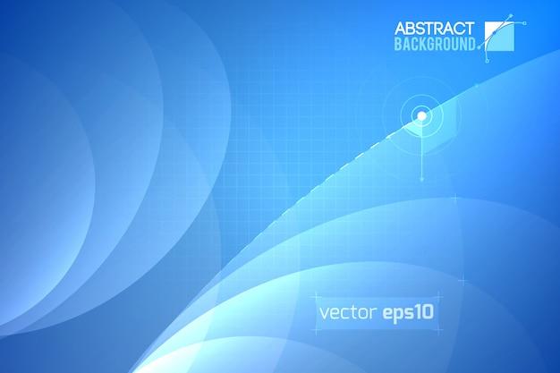 Modelo abstrato futurista com linhas curvas transparentes e grade na ilustração em azul claro