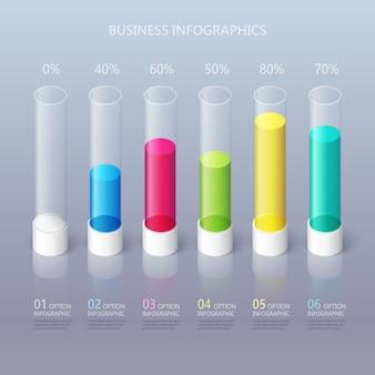 Modelo abstrato moderno infográfico cilíndrico 3d com seis opções de etapas