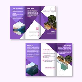 Modelo abstrato para brochura com três dobras com frente e verso