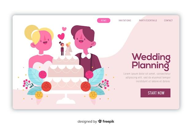 Modelo artístico da web com a página inicial do casamento