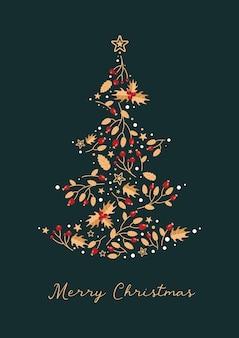 Modelo artístico feliz natal inverno árvore de natal estrelas bagas azevinho em cores festivas