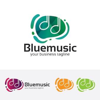 Modelo azul do logotipo do vetor da música