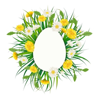 Modelo banner buquê de ovos de páscoa com flores buquê leão e margaridas, chamomiles, grama