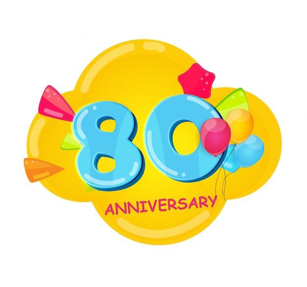 Modelo bonito dos desenhos animados 80 anos de aniversário