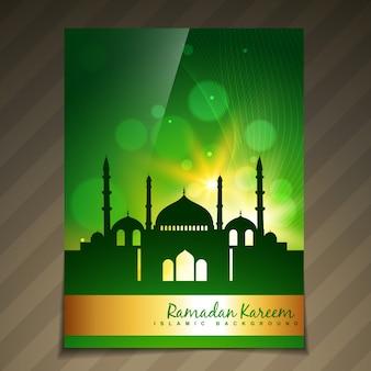 Modelo brilhante do festival muçulmano do estilo dourado brilhante do vetor