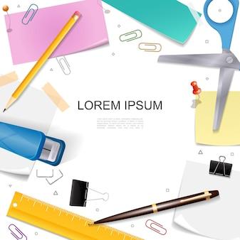 Modelo brilhante realista de papelaria com tesoura caneta lápis régua adesivos alfinetes de pressão clipes de fichário ilustração do grampeador,